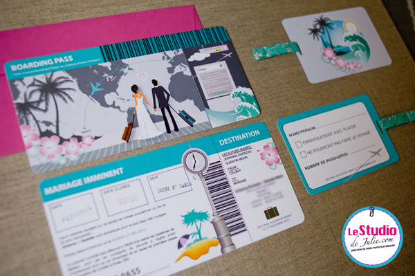 Faire-part de mariage Boarding pass Le Studio de Julie